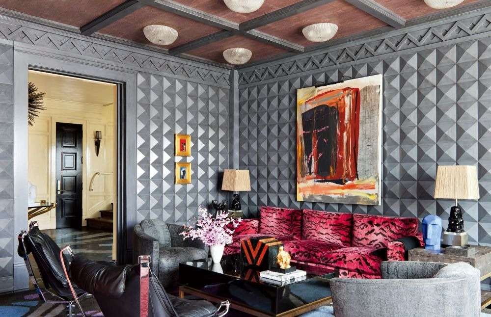 Dramatic Grey Living Room with Pyramid Wall Panelling