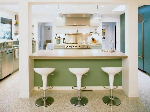 Elegant white and green retro kitchen