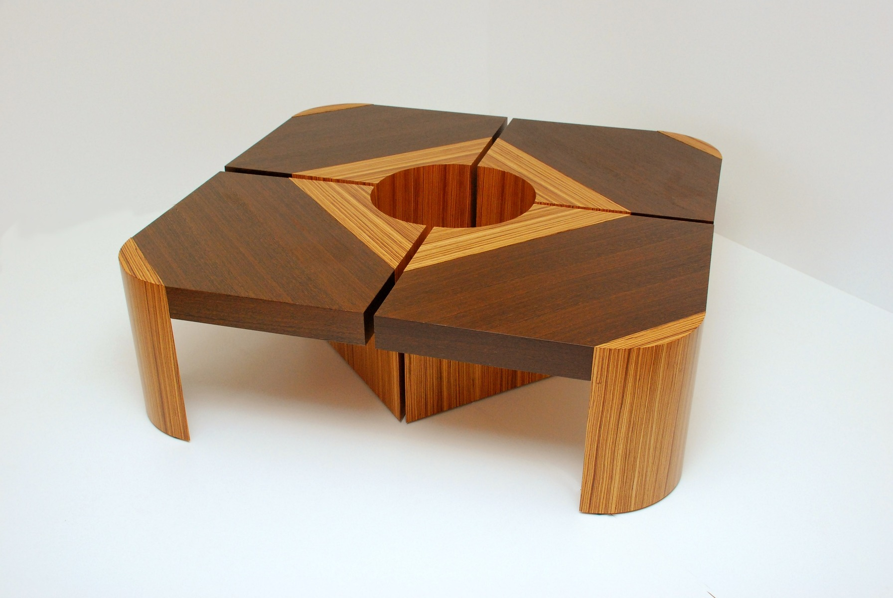 Modern Two Tone Wooden Coffee Table