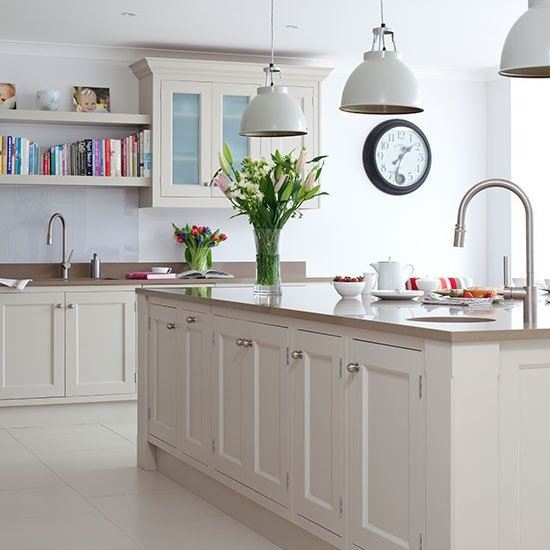 White Kitchen with Pale Grey Marble Countertop
